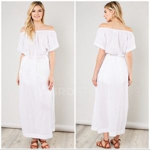 🏷SAMPLE SALE//WHITE COVERUP LINEN DRESS